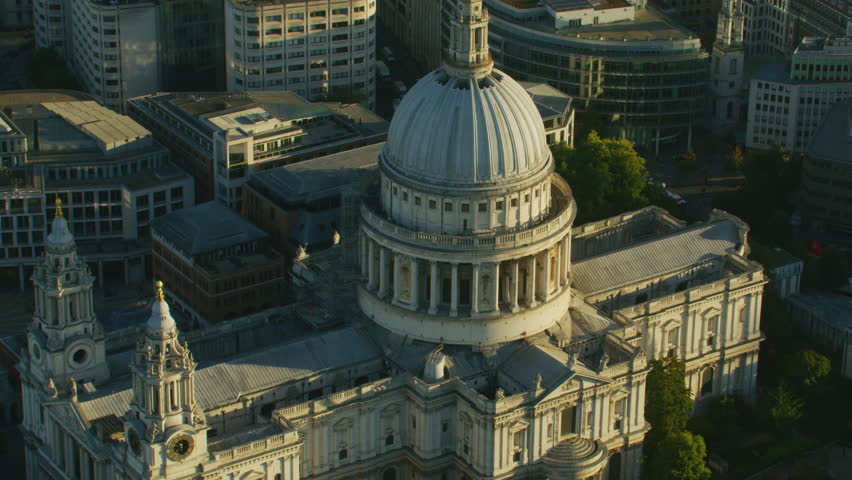 Aerial view at sunrise St Pauls Cathedral Anglican Church Ludgate Hill London England United Kingdom RED WEAPON | Shutterstock HD Video #1009771436