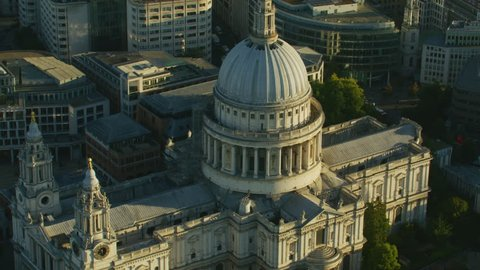 Aerial view at sunrise St Pauls Cathedral Anglican Church Ludgate Hill London England United Kingdom RED WEAPON