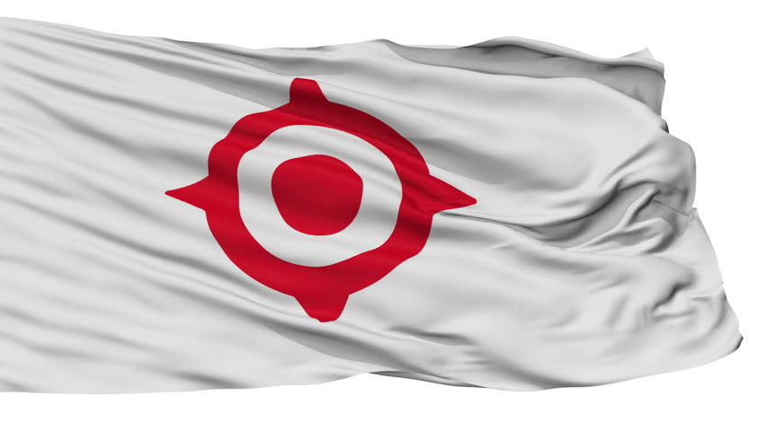 Nichinan flag, Miyazaki prefecture, realistic animation isolated on white seamless loop - 10 seconds long (alpha channel is included)   Shutterstock HD Video #1009801796