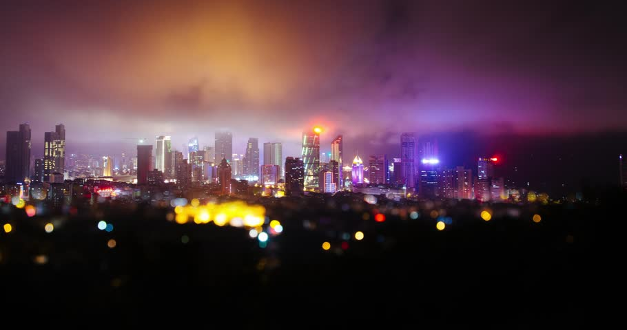 Qingdao new urban district timelapse at night