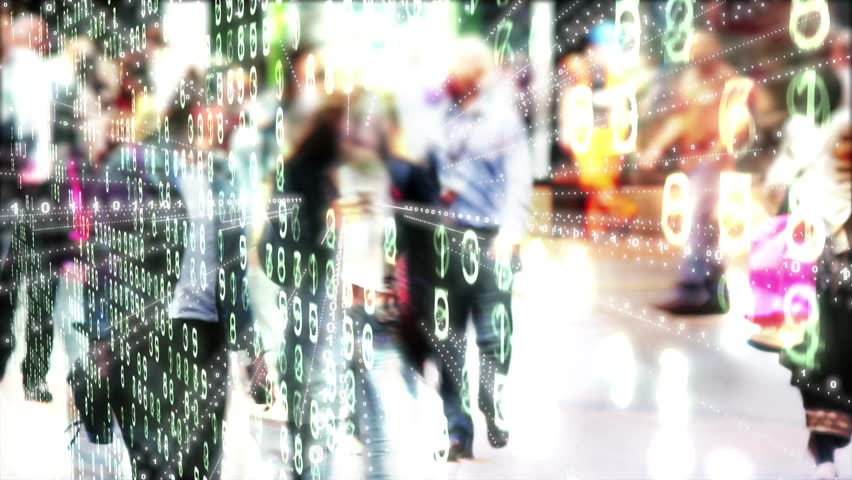 Young woman in a colorful, chaotic street communication landscape.  Young woman holding a phone which is sending out binary data in a stylized urban city scene.  | Shutterstock HD Video #1009811756