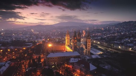 Aerial video of Pecs, Hungary