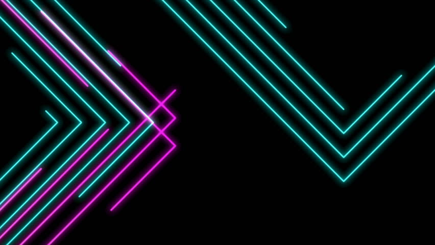 Abstract Line right angle Lighting moving pink yellow and blue color, technology network digital data transfer concept design, glowing on black background seamless looping animation 4K, with copy spac