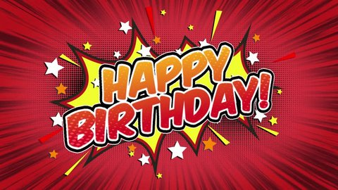 Happy Birthday Word Retro Cartoon Comic Bubbles Popup Style Expressions Colored Bomb and Smoke Strip Dotted and red Speed Radial line Seamless loop Animation black/green screen 4k doodle background 15