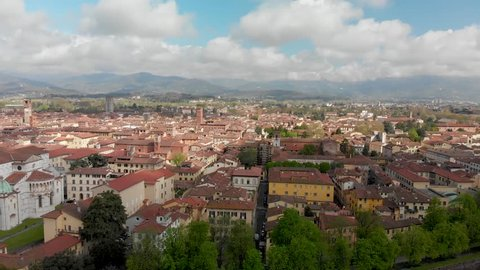 Aerial panoramic view of Lucca cityscape on a beautiful spring day, Tuscany.