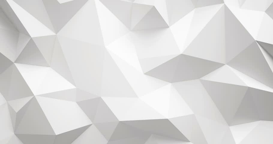 White lowpoly wall 4k video,3d rendering.