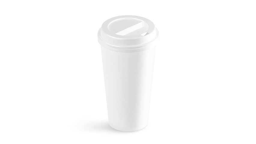 Blank white disposable paper cup with plastic lid mock up, looped rotation, looped rotation. Empty polystyrene coffee drinking mug mockup front view. Clear plain tea take away turning.   Shutterstock HD Video #1009877216