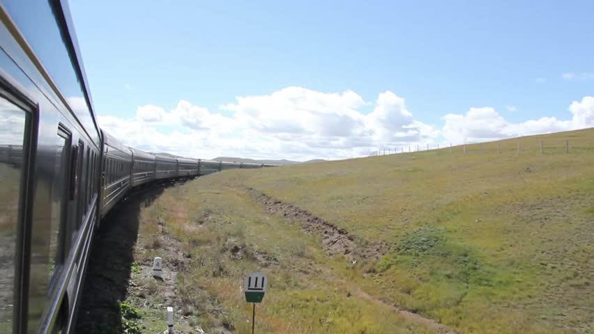 Train strolling through trans siberian railway