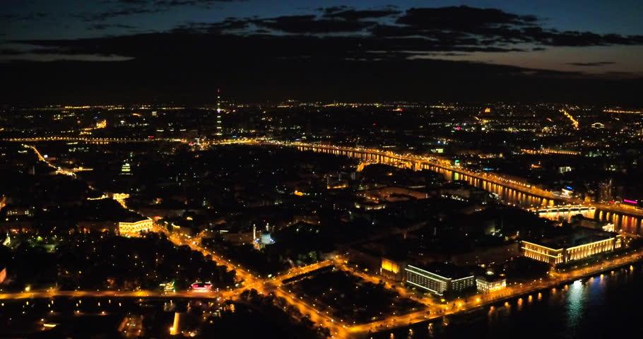 Aerial view of night Saint Petersburg 4k. Stunning flight over the beautiful city. | Shutterstock HD Video #1009931216