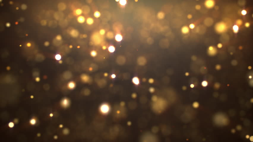 4k resolution gold floating particle bokeh on dark background