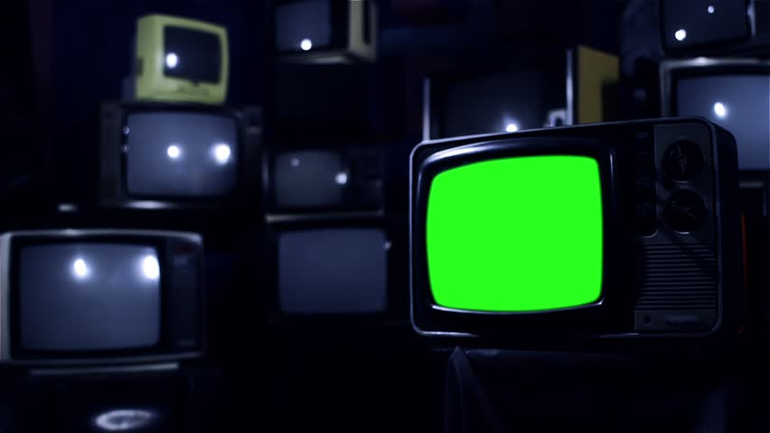 Vintage 80s Tv with Green Screen. Ready to replace green screen with any footage or picture you want. Night Tone. Zoom In. | Shutterstock HD Video #1009948106