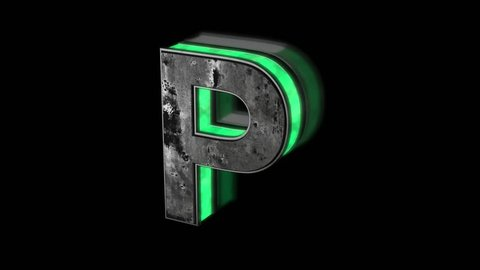 Futuristic letter P - volumetric rusty metal letter with green light outline glowing in the dark 3D animation