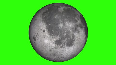 Natural satellite of the World: Moon, Luna, Lunar. Beautiful texture and moonlight in green screen. Moon is rotating.