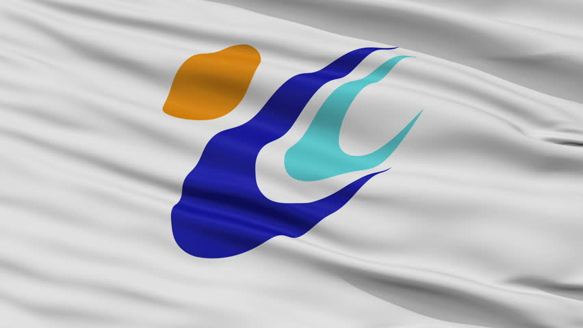 Tomi close up flag, Nagano prefecture, realistic animation seamless loop - 10 seconds long