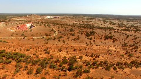 Bird eye view of the Outback with Gold Mine, Mount Magnet, Western Australia, Australia, Down Under