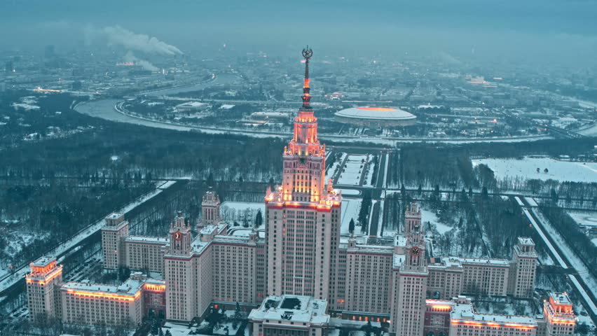 Lomonosov State University, iconic building and sightseeing in Moscow, Russia. aerial #1010014526