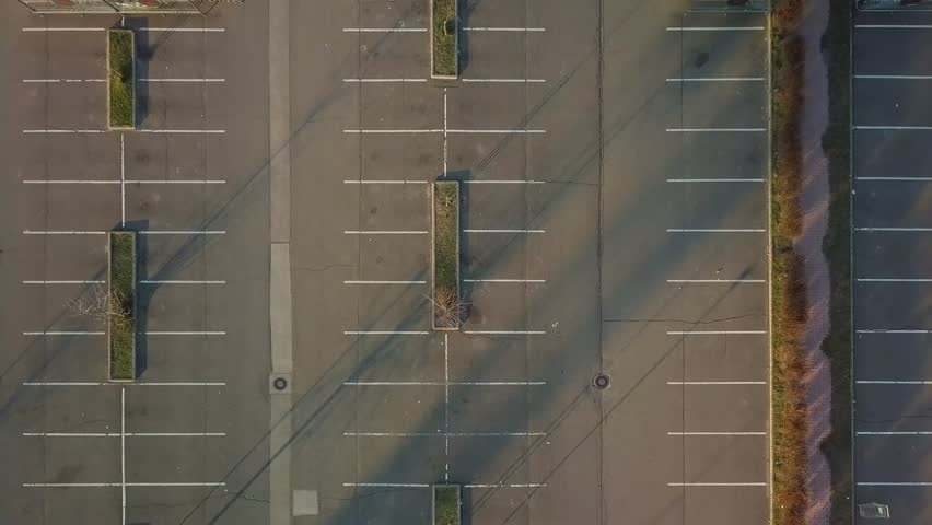 Aerial footage of empty parking lot