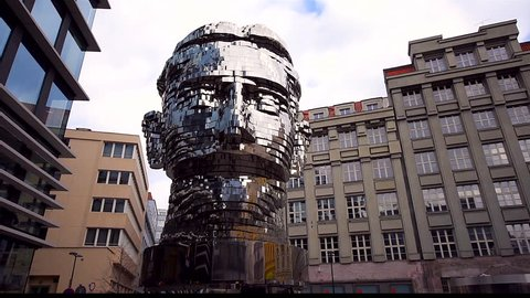 PRAGUE, CZECH REPUBLIC - MARCH 24, 2018: Kinetic moving sculpture of franz kafka the latest metamorphosis work by artist david cerny