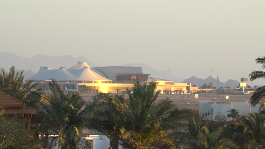 International airport in the tropical paradise. Sharm-El-Sheikh, Egypt | Shutterstock HD Video #1010062016