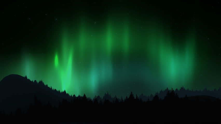 Arctic bright northern light over forest landscape. Realistic aurora borealis digital motion animation. | Shutterstock HD Video #1010071526