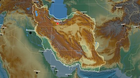 Zoom-in on Iran outlined on the globe. Capital, administrative borders and graticule. Relief map