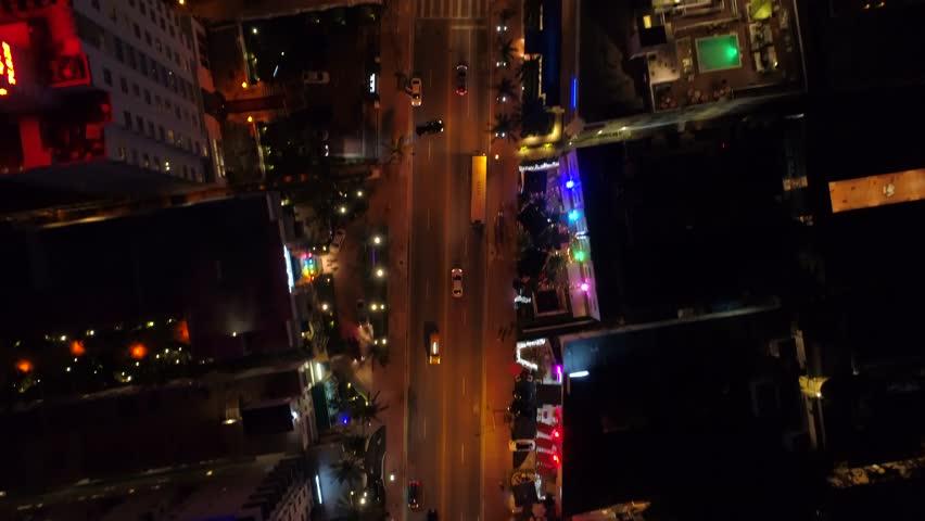 Aerial Miami overhead drone shot Collins Avenue 4k