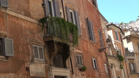 Static Footage Of Typical Rome Street Via Di Parione Showing Apartments Light Brown Colour And