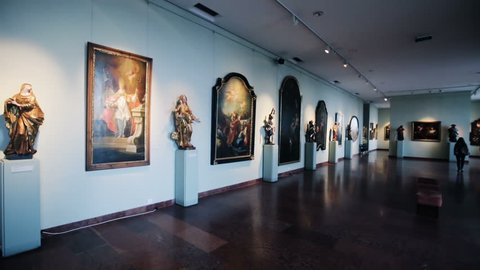 BUDAPEST, HUNGARY - OCTOBER 29, 2017: Exposition of sculpture and painting of Hungarian National Gallery in Buda Castle