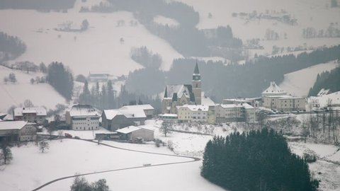 AERIAL WS Maria Church in winter / Neustift, Upper Austria, Austria