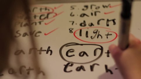 Close up of a child learning to spell the word EARTH. Over the shoulder view of a girl practicing her spelling on a white board with black marker.