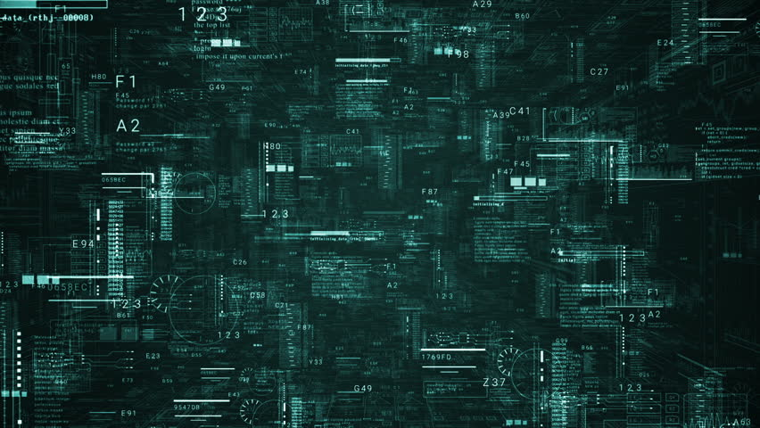 Technological intro.Futuristic HUD elements.Digital text code in 3D cyberspace.Techno background.Green.Type 1 #1010180996