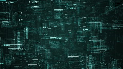 Technological intro.Futuristic HUD elements.Digital text code in 3D cyberspace.Techno background.Green.Type 1