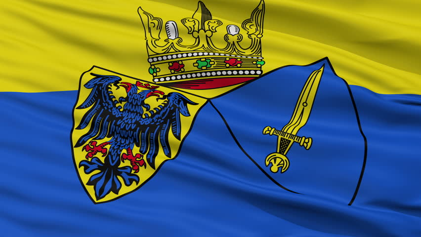 Essen closeup flag, city of Germany, realistic animation seamless loop - 10 seconds long