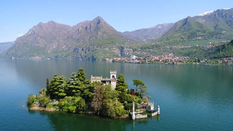 Isolated island, lake of Iseo - Loreto Island, Aerial view with drone