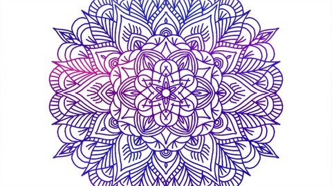 Abstract ornamental digital hand drawn mandala footage. Floral vintage tattoo decorative elements oriental islam pattern.