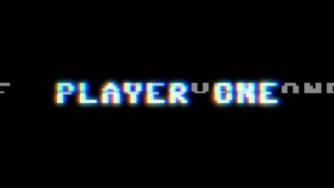 Text appearing on a retro vintage computer screen: player one, get ready, go! With a digital glitch artifact effect.