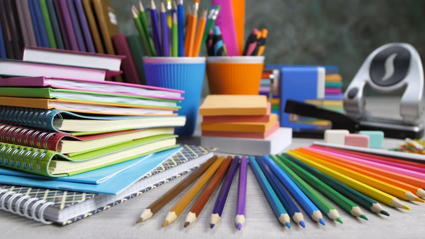 stationery  paper  notebooks  pencils and stock footage
