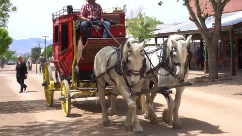 Stagecoach in Tombstone , Arizona. April 2018. For editorial use only