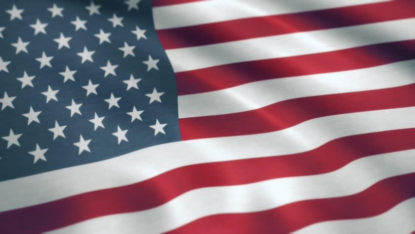 USA American Flag. Seamless Looping Animation. USA flag waving in the wind