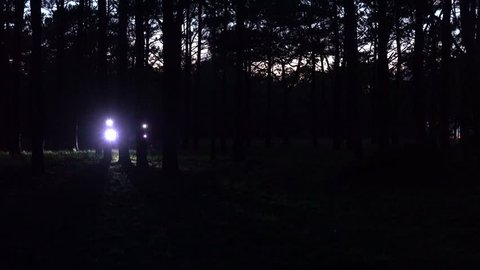 Cycling in the forest and mountain in night. Royalty high quality free stock footage of bicycle team downhill and uphill in mountain and forest. Biking in the forest is a good outdoor sport for health