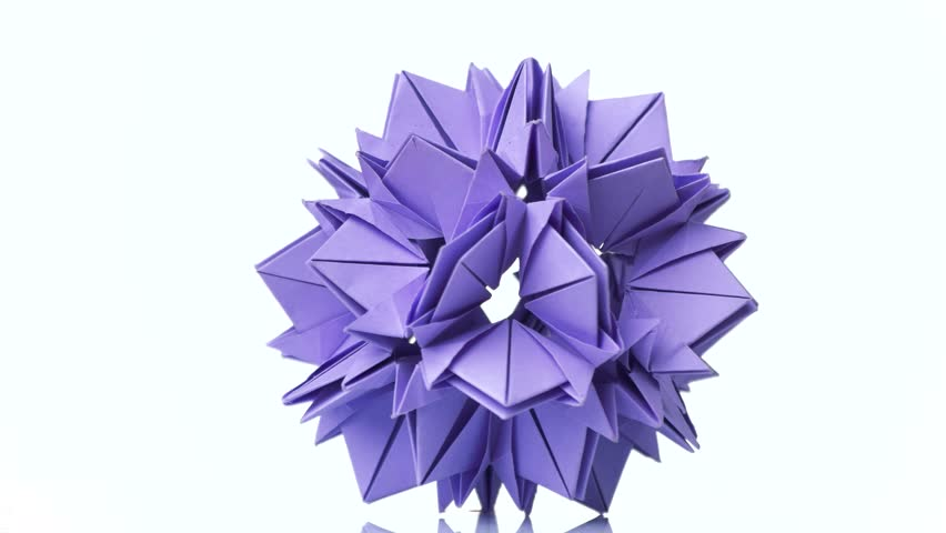 Origami Flower Of Violet Color Stock Footage Video 100 Royalty