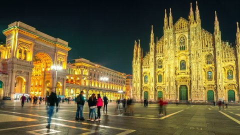 Time Lapse of People at Duomo di Milano or Milan Cathedral in city of Milan , Italy . Milan Cathedral is the largest church in Italy and the third largest in the world . Tourist attraction of Milan .