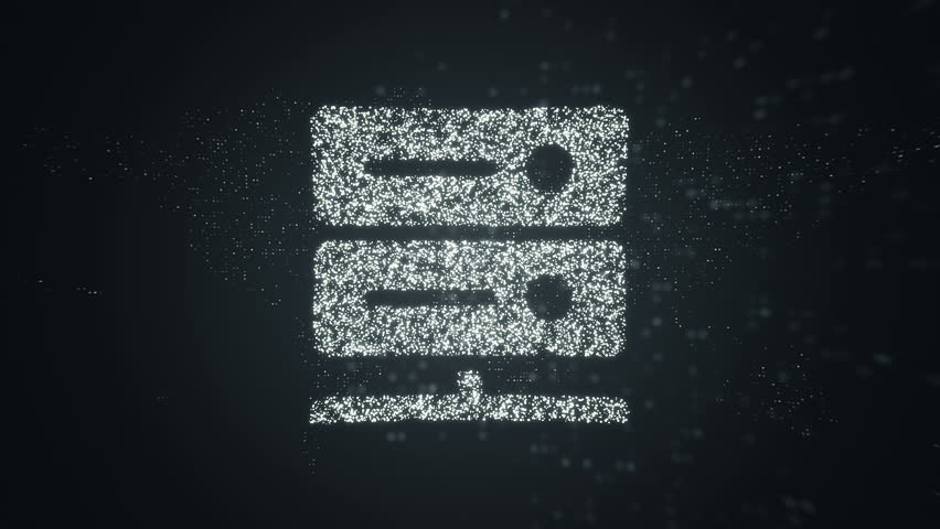 Animation of flying flickering particles form a computers servers sign or data clouds symbol on dark background with earth map from dots. Animation of seamless loop.   Shutterstock HD Video #1010453726