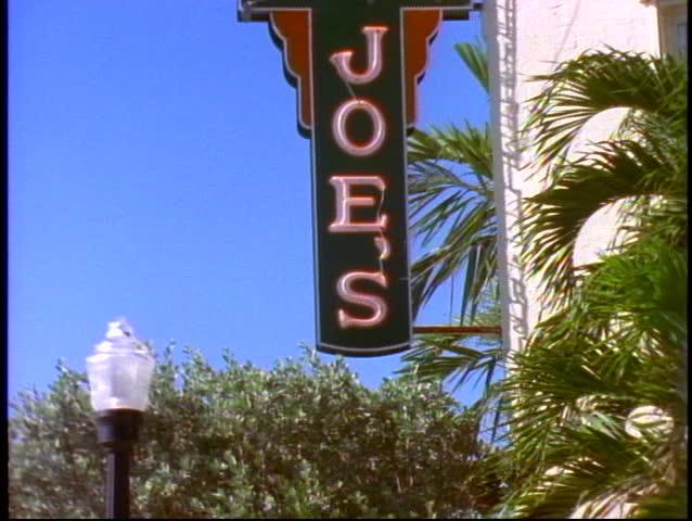 MIAMI, 1998, Joes Stone Crab resturant, Miami Beach, tilt up, medium close up