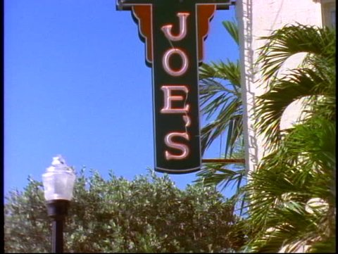 MIAMI, 1998, Joes Stone Crab resturant, Miami Beach, tilt up, medium close up