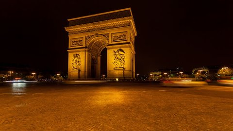 4k time lapse of traffic on the Champs Elysees at night, Paris, France