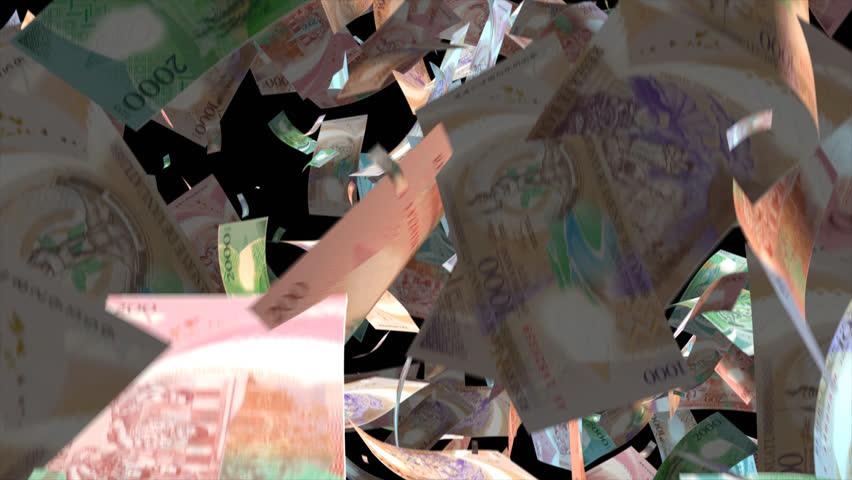 Falling Vanuatu money banknotes  Video Effect simulates Falling Mixed Vanuatu money banknotes with alpha channel (transparent background) in 4k resolution  | Shutterstock HD Video #10104776