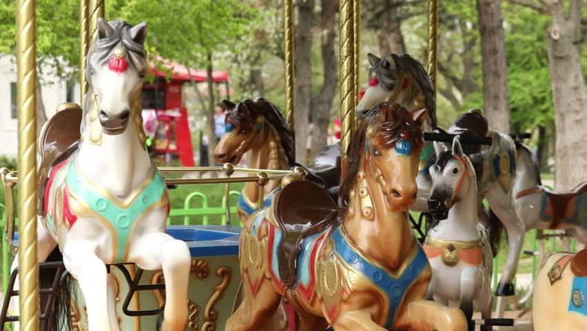 Empty park carousel  | Shutterstock HD Video #1010508416