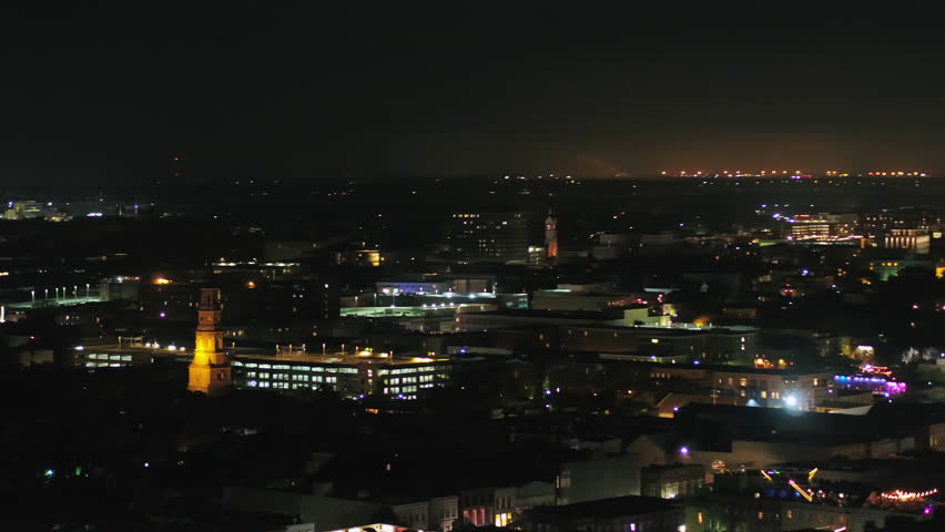 South Carolina Charleston Aerial v7 Skyline night view over French Quarter looking around to parkway 10/17 | Shutterstock HD Video #1010534156
