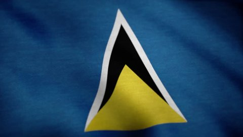 Flag of Saint Lucia waving in the wind. Saint Lucia National flag. Seamless looping